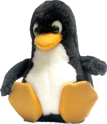 Tux, furry toy based on Larry Ewing design for Linux mascot